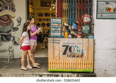 GEORGETOWN, PENANG, MALAYSIA - AUGUST 06, 2016: 70's ice ball stall at Lebuh Armenian Georgetown, Penang, Malaysia. There are many flavors available.