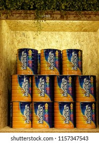 Georgetown Penang Malaysia. August 10, 2018. Large tins of Horlicks, a powdered malt drink arranged neatly in an upscale supermarket in Penang Times Square shopping mall.
