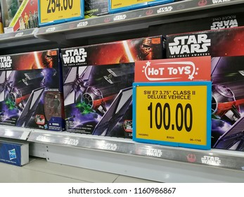 Georgetown, Penang, Malaysia. August 14, 2018. Price mark down on unpopular overstocked Star Wars merchandise at Toys R US store.