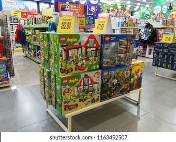 Georgetown, Penang, Malaysia. August 14, 2018. Overstocked Lego sets being offered on sale at the Toys R Us store at Sunway Carnival shopping mall.