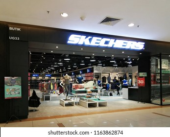 Georgetown, Penang, Malaysia. August 14, 2018. Main entrance to the Skechers brand of shoes at the Sunway Carnival shopping mall.
