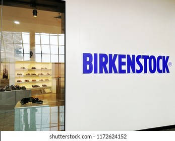 Georgetown, Penang Malaysia. August 26, 2018. Birkenstock brand shoes store at the upscale Gurney Paragon shopping mall.
