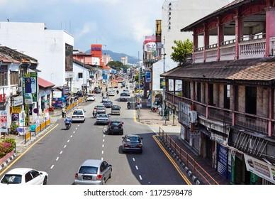 Georgetown, Penang, Malaysia. Circa 2016. Burmah Road In Central Georgetown.