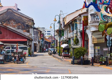 Georgetown, Penang, Malaysia. Circa 2016. Acheh Road in central Georgetown.