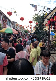 Georgetown, Penang / Malaysia - Feb 9, 2019: crowd during the Georgetown Chinese new year festival in the unesco heritage site