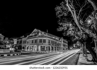 Georgetown, Penang / Malaysia - July 20th, 2018 : Light trail of Penang Chinese Chamber of Commerce in black and white version,the building which was established in 1903.