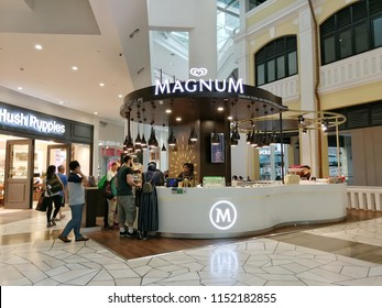 Georgetown penang Malaysia. July 24, 2018. Luxury ice cream brand Magnum pop up kiosk located at the center atrium of the Gurney Paragon shopping mall.