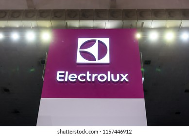 Georgetown, Penang, Malaysia. July 27, 2018. Close up on the Electrolux logo and brand name at the furniture and appliances exhibition.