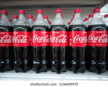 Georgetown, Penang, Malaysia - July 31st 2018. Coca cola is a carbonate soft drink produced and manufactured by The Coca Cola Company an American multinational food and beverage company.
