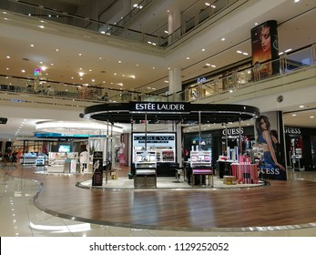 Georgetown penang, Malaysia. July 6, 2018. Estee Lauder pop up store in the open concourse area of the Queensbay Mall shopping complex.