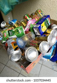Georgetown, penang, Malaysia. March 2, 2018. state government mandate separation of recyclables from other wastes. photo shows aluminum cans and box drinks of various brands and companies.