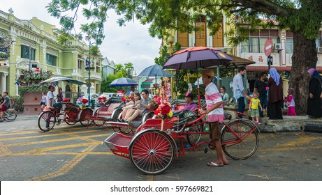 GEORGETOWN, PENANG, MALAYSIA - March 2017, George Town, the capital city of the Malaysian state of Penang,is located at the northeastern tip of Penang Island.It is the second largest city in Malaysia,