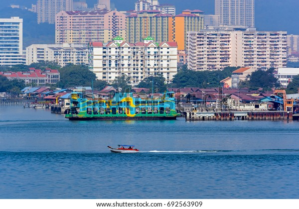 GEORGETOWN, PENANG, MALAYSIA - May 01, 2017: Ferry boat of Penang Ferry Service, oldest ferryboat service in Malaysia, transport passenger and vehicle from another place to Georgetown, Malaysia.
