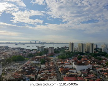 Georgetown, Penang, Malaysia - May 4, 2018: View of Georgetown from high overlooking mainland Malaysia