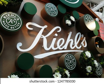 Georgetown Penang Malaysia. November 5, 2018. Close up on the branding logo of Kiehl's, a popular skincare product provider at Gurney Paragon shopping mall.