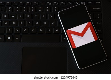 Georgetown, Penang / Malaysia - November 9, 2018 - Gmail google email application on smartphone screen close-up Android Google Play Store app.
