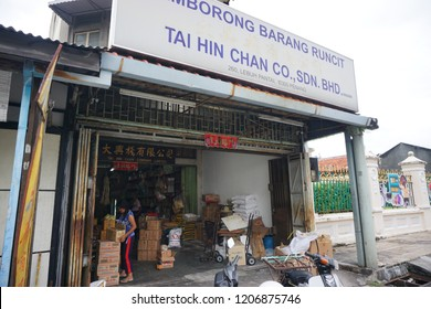 Georgetown, Penang, Malaysia - Oct18, 2018 :  View of shop, street and traffic in Lebuh Armenian, Penang.
