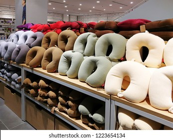 Georgetown Penang Malaysia. October 12, 2018. Various colors on the neck brace pillow for sale at the Yubiso store at the basement level of 1st Avenue shopping mall.