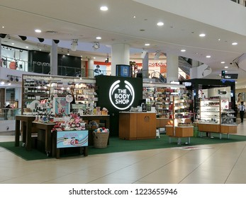 Georgetown Penang Malaysia. October 12, 2018. The Body Shop personal hygiene large scale kiosk set up on the ground level of the 1st Avenue shopping mall