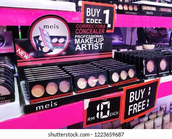 Georgetown Penang Malaysia. October 12, 2018. Extremely cheap and economical generic brand makeup product for sale in a discount store at the basement level of 1st Avenue shopping mall.
