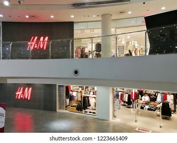 Georgetown Penang Malaysia. October 12, 2018. The large H&M brand store occupying two levels in the 1st Avenue shopping mall.