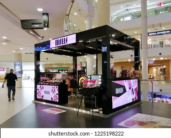 Georgetown Penang Malaysia. October 12, 2018. Mille beauty and makeup product pop up kiosk on the first floor of 1st Avenue shopping mall