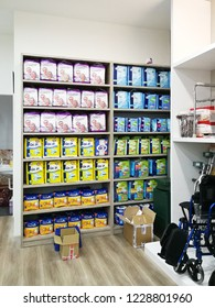 Georgetown Penang Malaysia. October 15, 2018. Various brands of diapers for adults and the elderly for sale at the back corner of the Georgetown pharmacy.