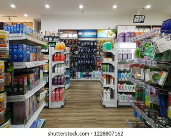 Georgetown Penang Malaysia. October 15, 2018. Aisles of various selections of shampoos, cleaner liquid, condoms in the Georgetown pharmacy.