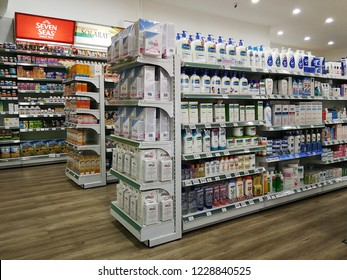 Georgetown Penang Malaysia. October 15, 2018. Various skincare products with medication such as Cetaphil, and Seba Med for sale on the shelves of Georgetown pharmacy.