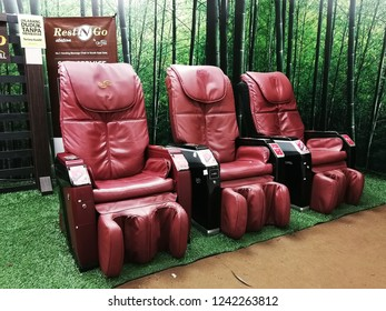 Georgetown, Penang, Malaysia. October 26, 2018. Automated paid massage chairs station setup at the ground floor of 1st Avenue shopping mall allows tired shoppers a spot for relaxing.