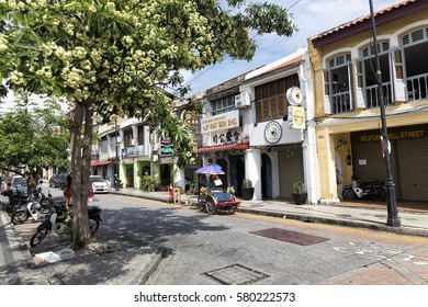 Georgetown, Penang - November 23, 2016 : A typical street scene in Georgetown, Penang in Malaysia