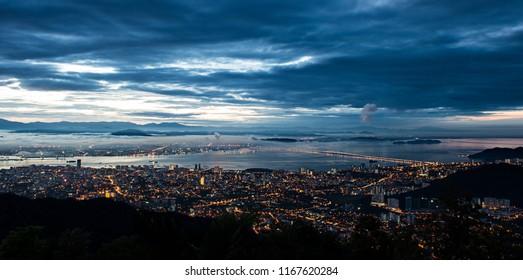 Georgetown, Penang viewed from Penang Hill at dawn