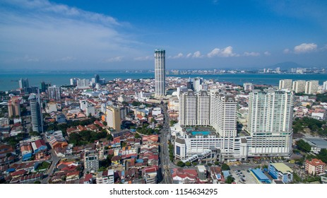 Georgetown Penang.August 12 2018.Aerial view  Komtar building from Komplek Tun Abdul Razak is a symbolic to Penang State.
