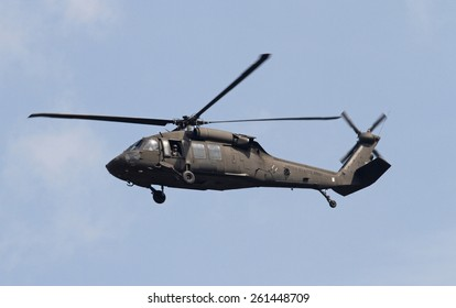 GEORGETOWN, SC - March 9, 2015:  A U.S. Army National Guard Blackhawk helicopter hovers overhead during Operation Vigilant Guard, a South Carolina hurricane disaster drill.