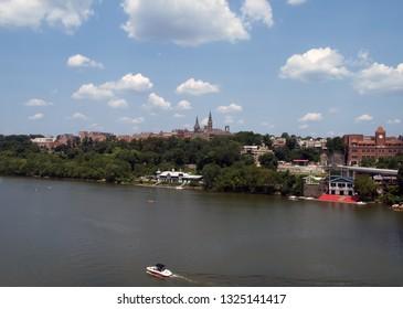 Georgetown skyline on the Potomac River near Washington, D.C.
