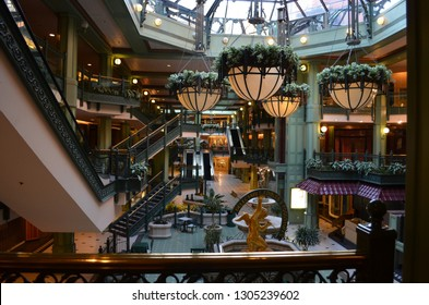 Georgetown, Washington DC - Feb 17, 2012: Interior view of the old Shoppes at Georgetown Park, prior to the shopping center mall remodeling. The interior of the mall has since been demolished
