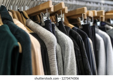 Georgetown, Washington, DC - November 5, 2018: High end and neatly organized clothing for sale at a little boutique.