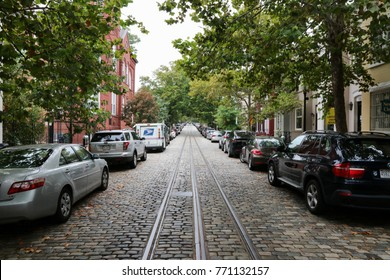 Georgetown, Washington, DC, October 10, 2016: An old street in Georgetown, Washington, DC.