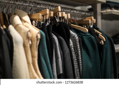 Georgetown, Washington, DC / USA - December 8, 2018: A small locally owned women's clothing store sells lightly worn used clothing.
