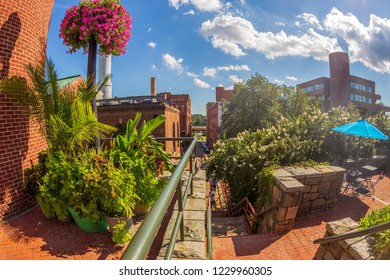 Georgetown, Washington DC, USA - September 2, 2018: Old architecture in Georgetown, the historic district in Washington DC. Light in the afternoon.