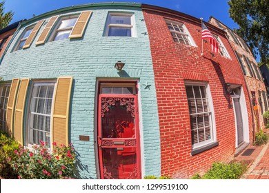 Georgetown, Washington DC, USA - Septembr 2, 2018: Facades of typical colorful buildings in Georgetown, the historical district in Washington DC.