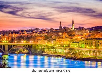 Georgetown, Washington DC, USA skyline on the Potomac River