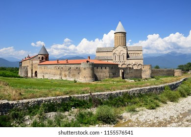 Georgia, Alaverdi Monastery ones of the biggest sacred objects in Georgia, located in Kakheti region, near the Telavi town. In the distance visible range of Kakazu mountains.
