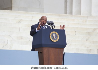 Georgia Congressman John Lewis speaks at the Lincoln Memorial August 28, 2013 in Washington, DC, commemorating the 50th anniversary of Dr. Martin Luther King Jr.'s 'I Have a Dream' speech.