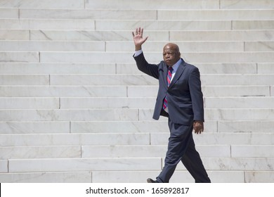 Georgia Congressman John Lewis waves at the 50th Anniversary of the march on Washington and Martin Luther King's I Have A Dream Speech, August 24, 2013, Lincoln Memorial, Washington, D.C.