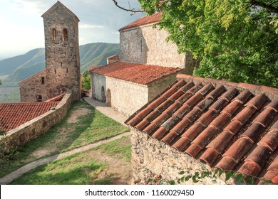 Georgia country, old towers and brick houses of the famous Orthodox church monastery. Alazani valley area with Nekresi monastery from 4th - 7th century.