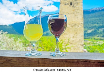Georgia is famous for its cuisine, wines and lemonades, Mestia is the fine place to taste it, enjoy the glass of wine in local cafe, Upper Svaneti.