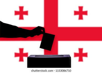 Georgia flag with ballot box during elections / referendum