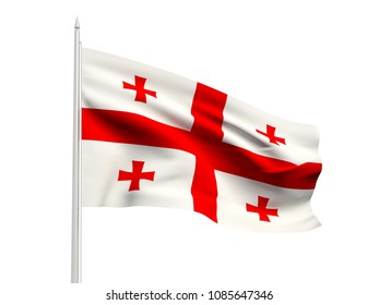 Georgia flag floating in the wind with a White sky background. 3D illustration.