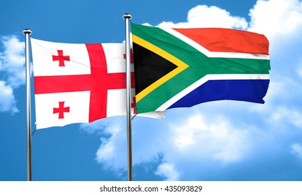 Georgia flag with South Africa flag, 3D rendering